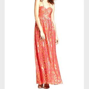 Aqua Dresses Coral Gold Metallic Gown 6 Maxi